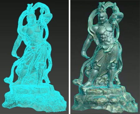 3D scan model before and after being retopologized with Mudbox.