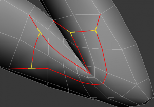 Although the T-vertices (yellow) are created with an inset structure, the red edges are unnecessary for this object and should be removed altogether.