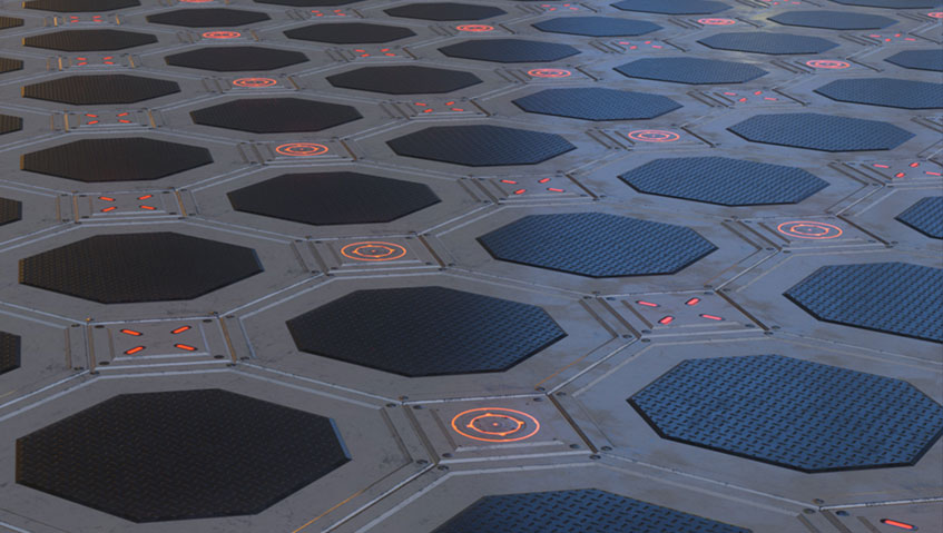 video game model of sci-fi flooring