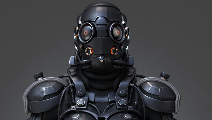 video game character model of cyborg female