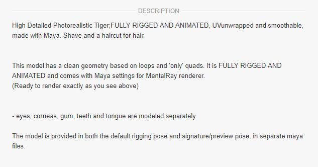 Marketplace description of 3d model for sale