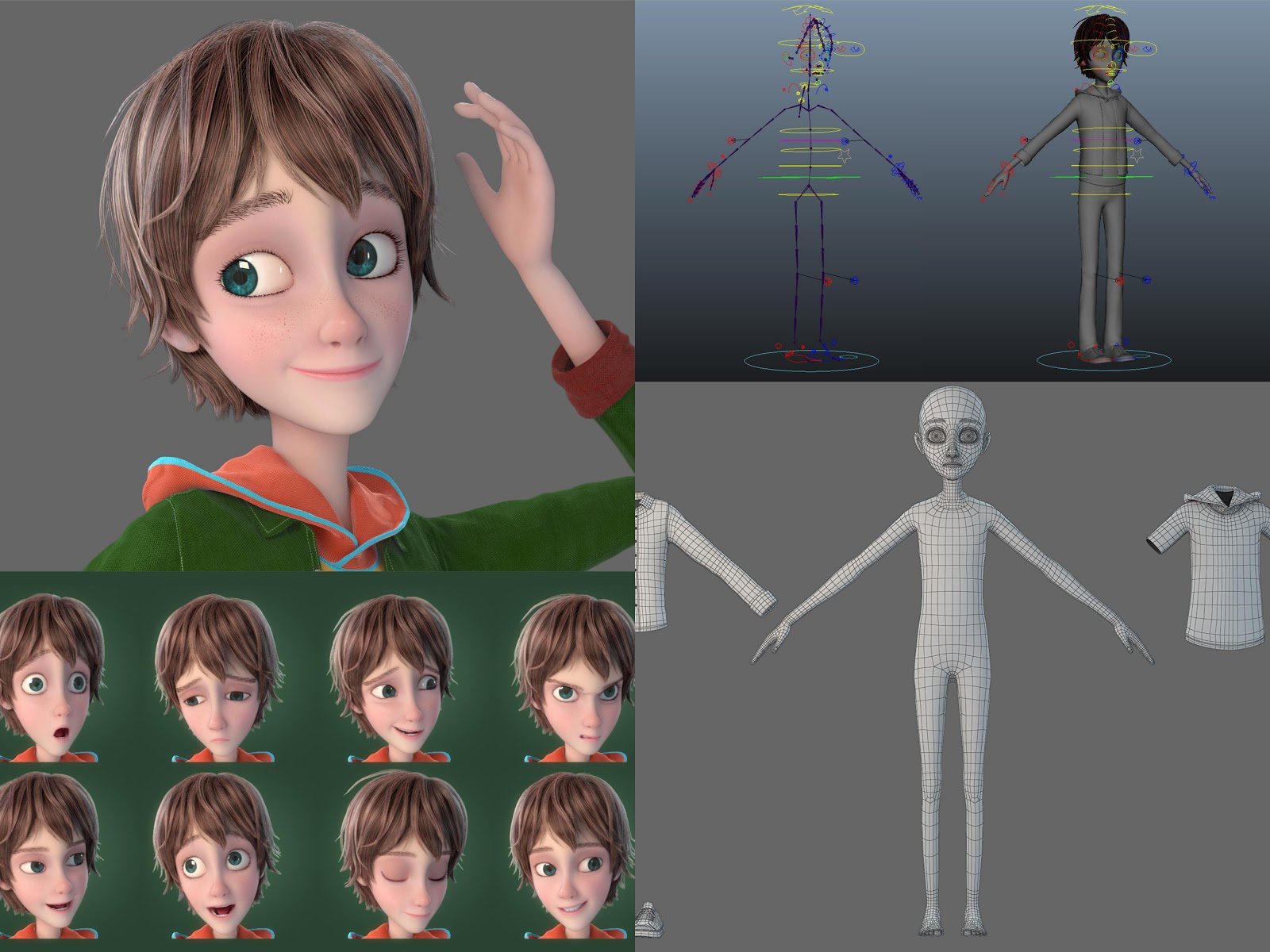 Cartoon boy 3D model includes photos of rigging, wireframes, and expression sheet