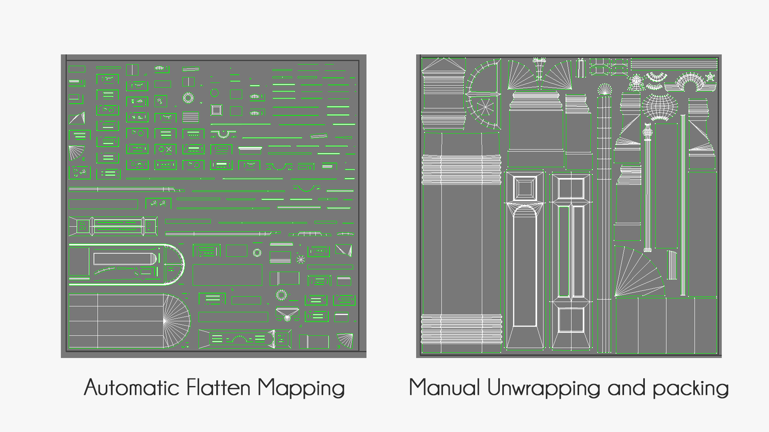 Automatic Flatten Mapping vs. Manual Unwrapping and Packing