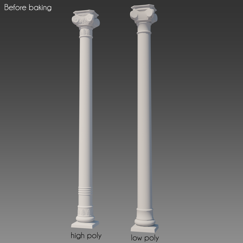 Low and high poly versions of column