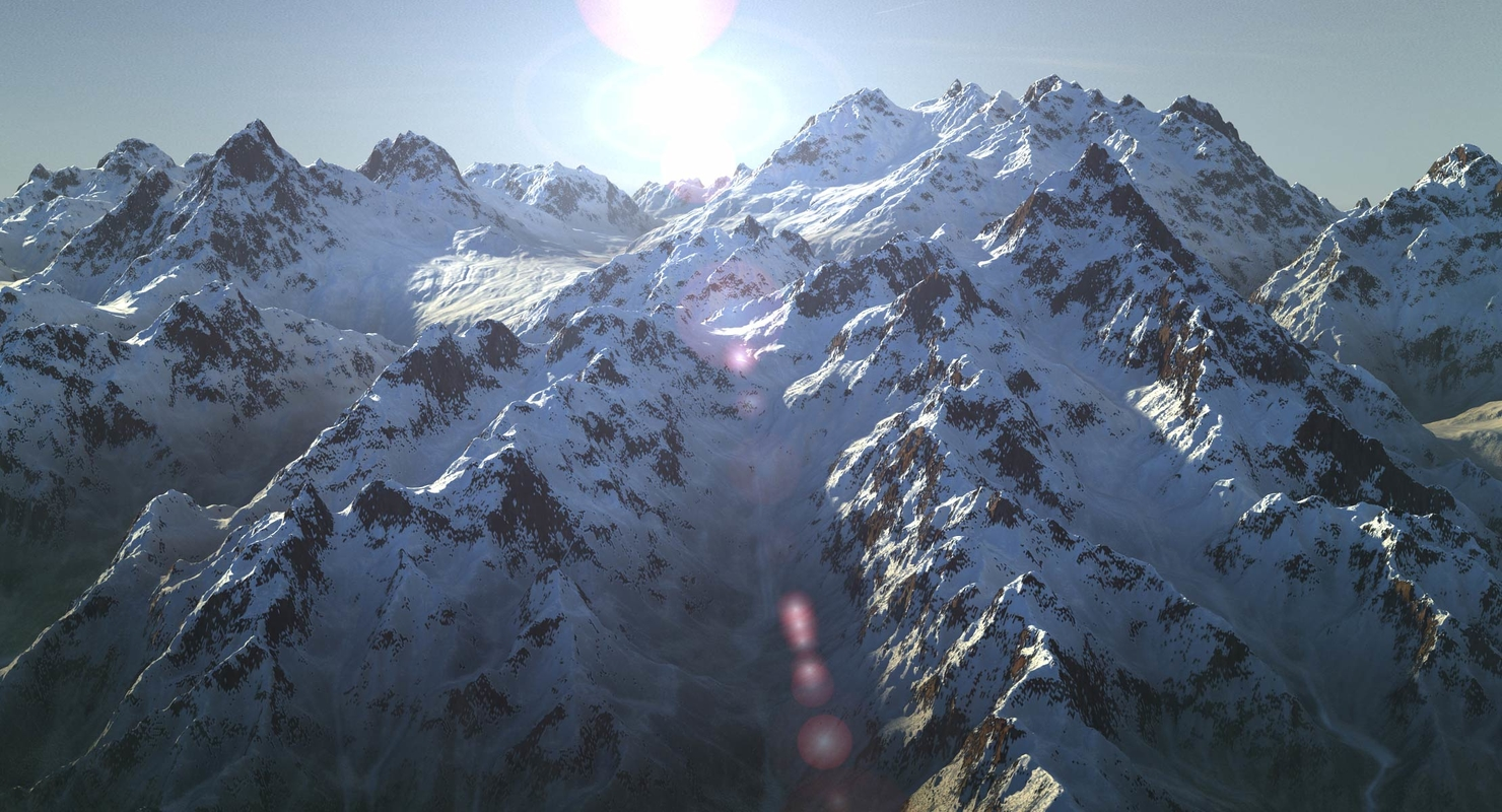 Snow Mountain Range Terrain 13 Landscape Alaska by 3D_Multimedia