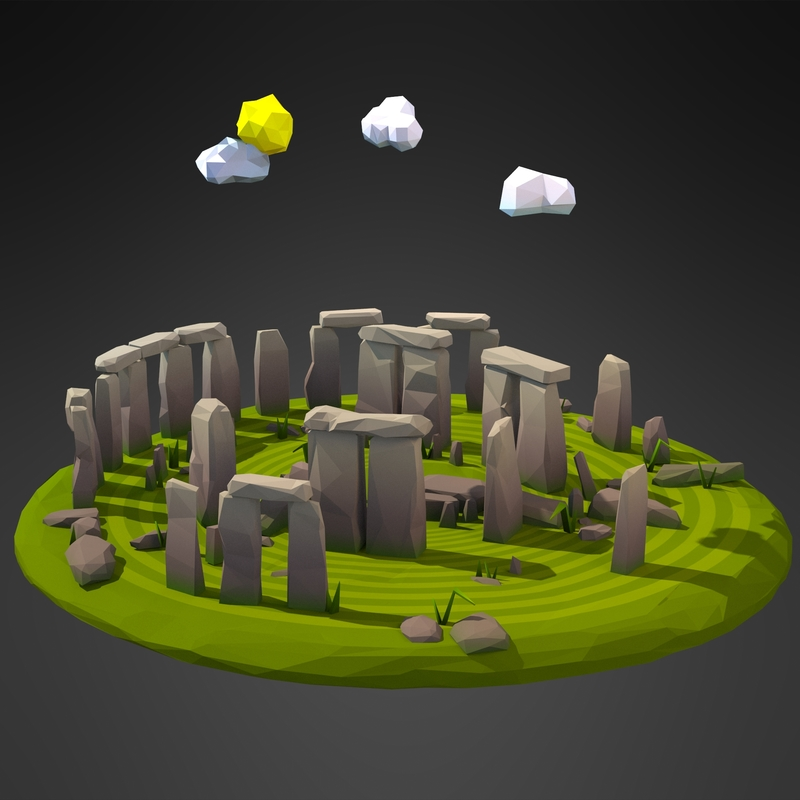 Cartoon Stonehenge Circle model by Anko3d