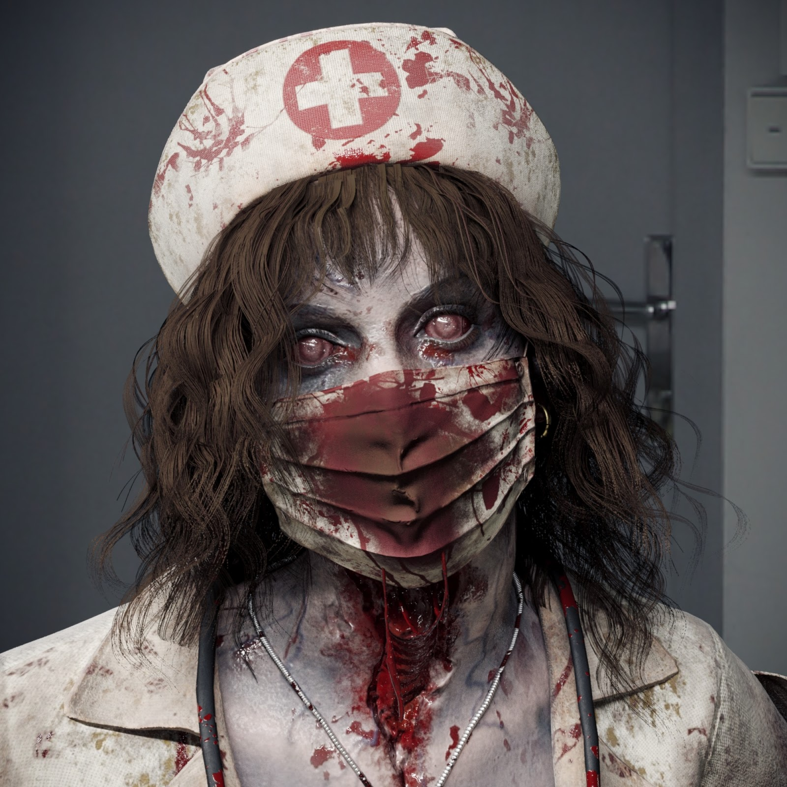 3D Character Zombie Nurse PBR Rigged by michael weisheim woolfy