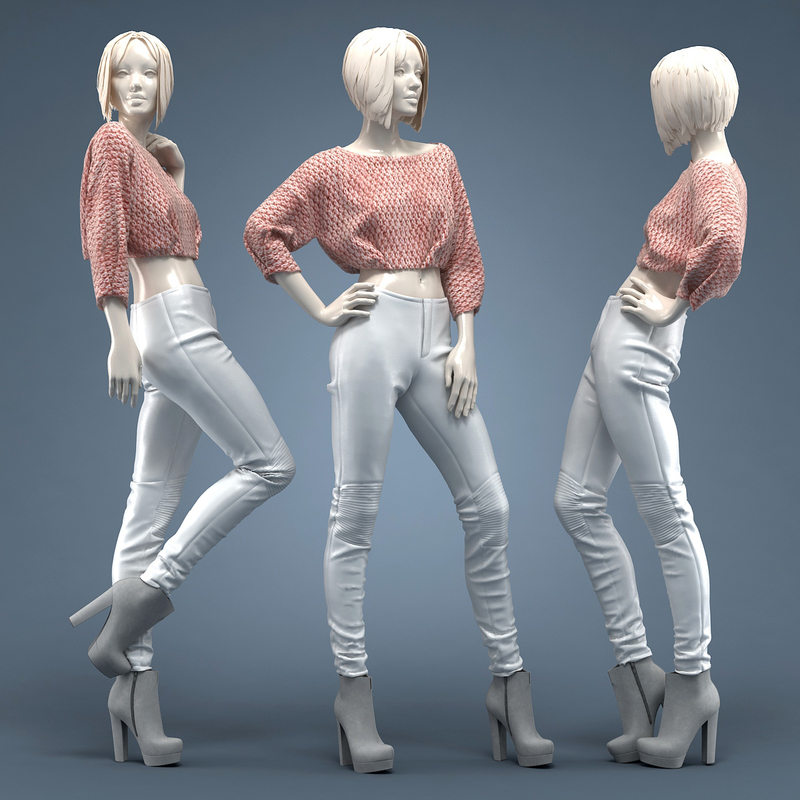 Pullover short & Leather pants 3D model by Clothes3D