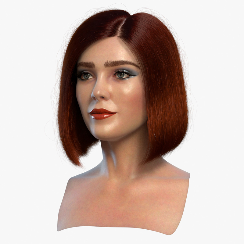 3D Female Head 3 With Blends model by robertdewit