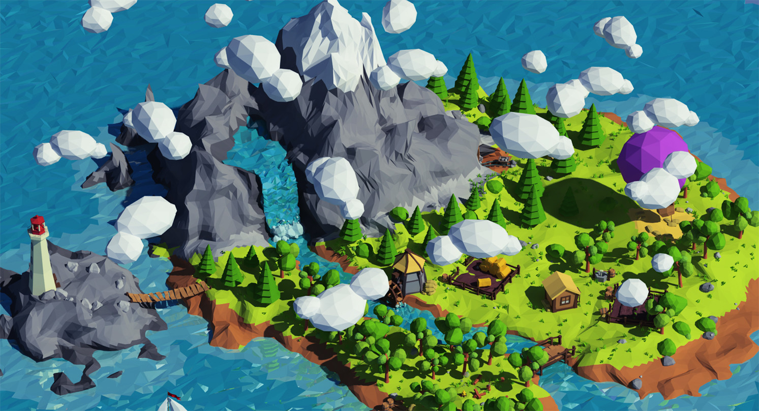 A closeup of Vilitay's Cartoon island low poly