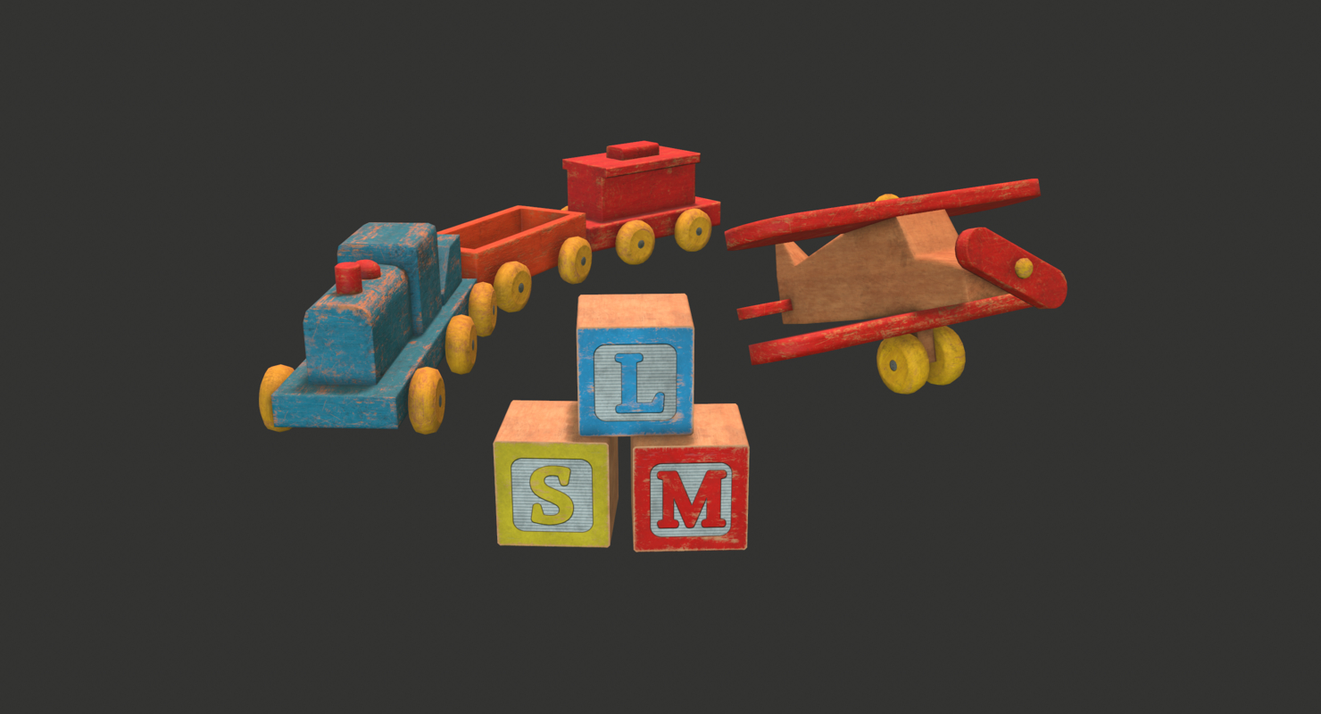 Train, Plane, and Blocks 3D model