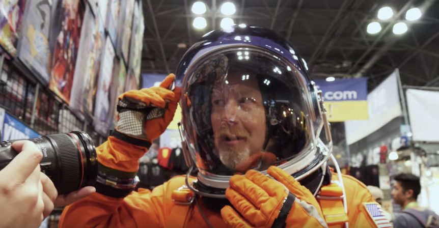 Adam Savage in his ACES helmet at San Diego Comic Con