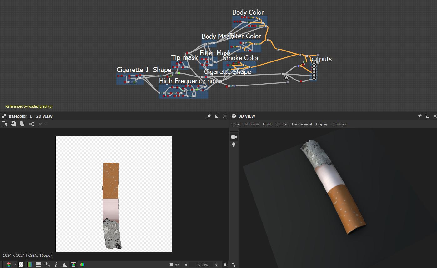 Creating cigarette butt nodes in Substance Designer.