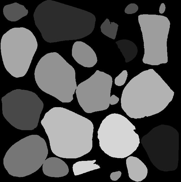 Random grayscale color on single rocks.