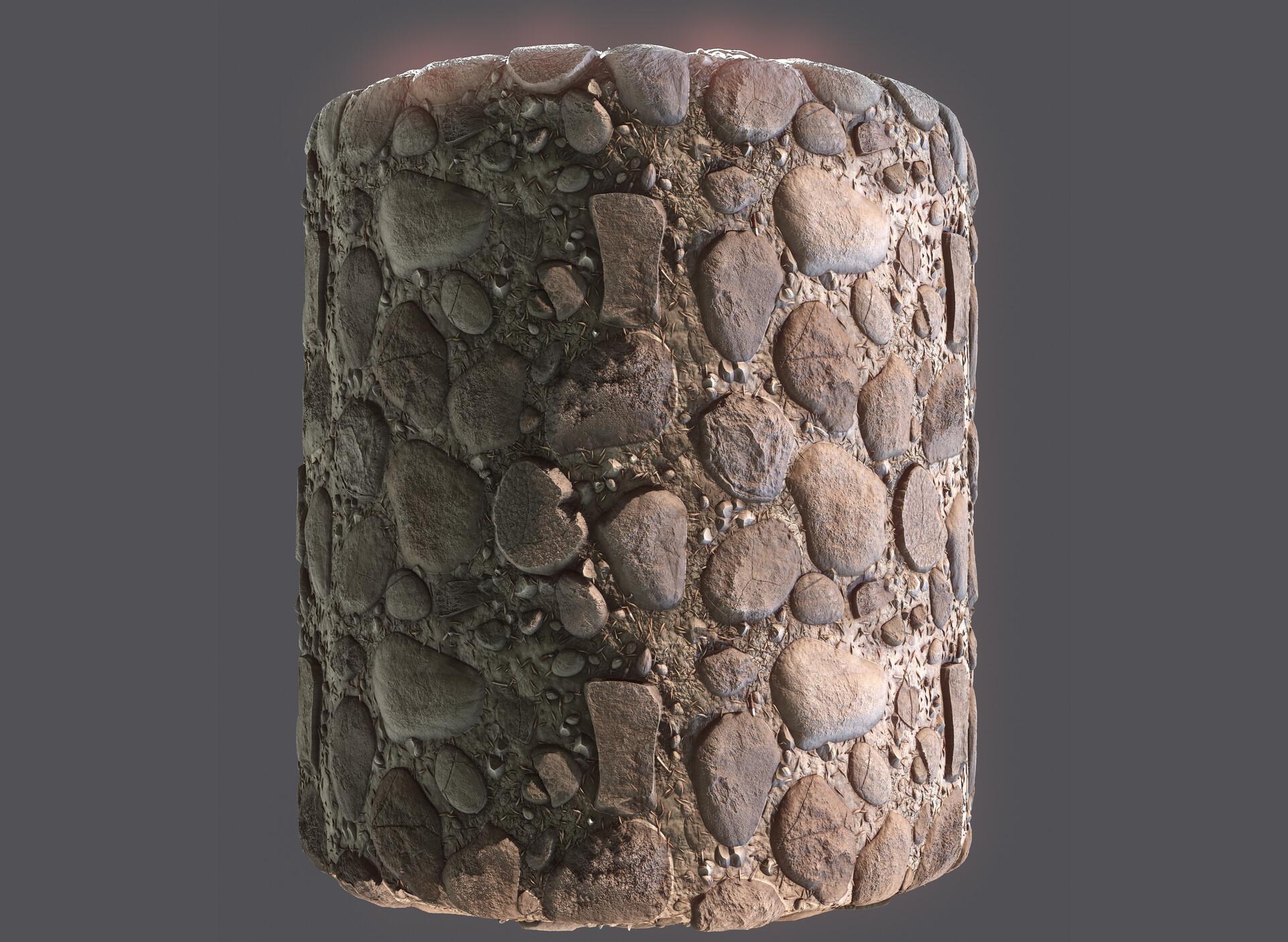 Procedural rocks made in Substance Designer. Mapped on a cylinder.