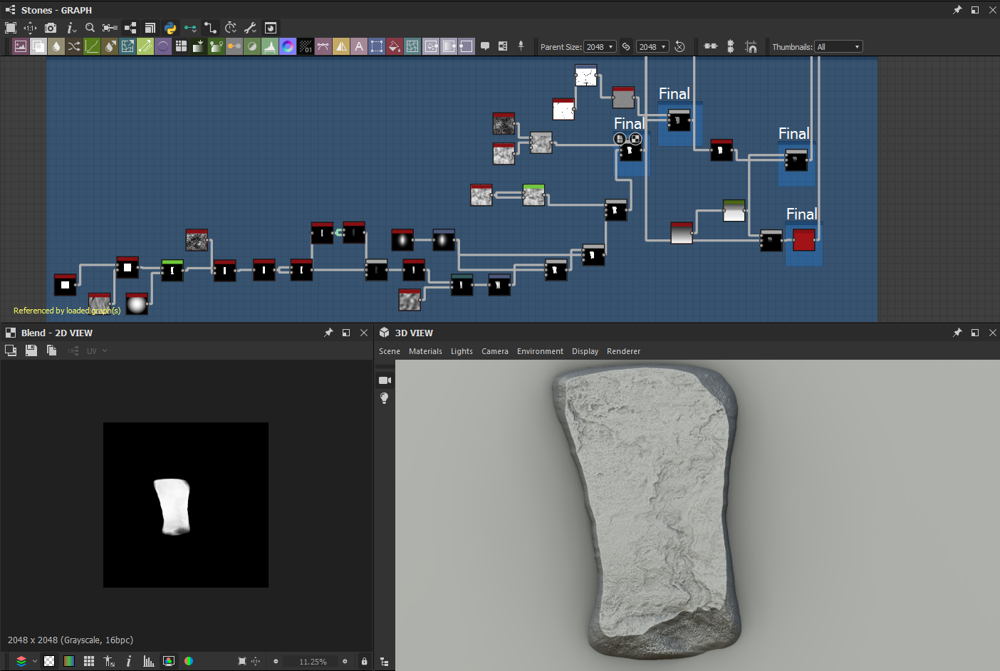 Using Substance Designer graph to construct a procedural rock in the foreground.