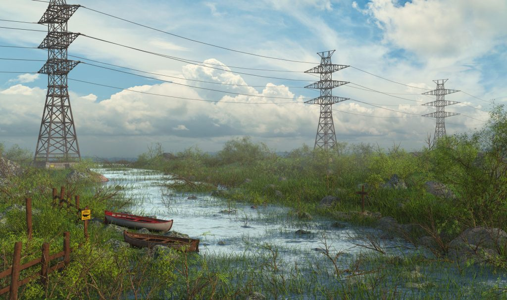 Electric Tower River 3D Model by Marc Mons